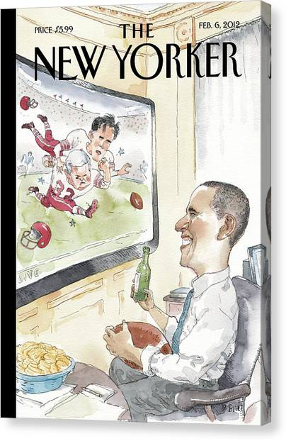 Superbowl Canvas Print - President Obama Watches Football On Tv by Barry Blitt