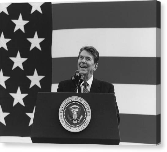 Republican Presidents Canvas Print - President Reagan American Flag  by War Is Hell Store