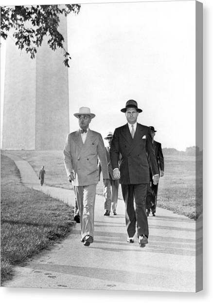 Harry Truman Canvas Print - President Truman On A Walk by Underwood Archives