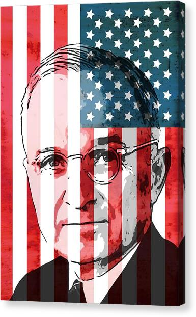 Harry Truman Canvas Print - President Truman On American Flag by Dan Sproul