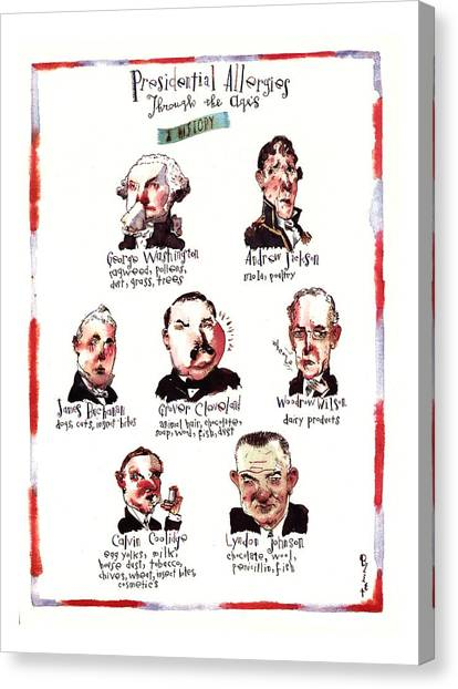 Lyndon Johnson Canvas Print - Presidential Allergies Through The Ages: by Barry Blitt