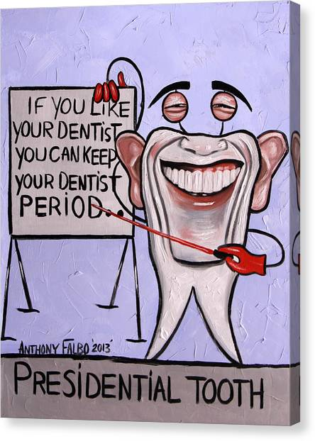 Obama Poster Canvas Print - Presidential Tooth Dental Art By Anthony Falbo by Anthony Falbo
