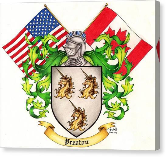 Preston Family Crest Canvas Print by Sheryl Unwin