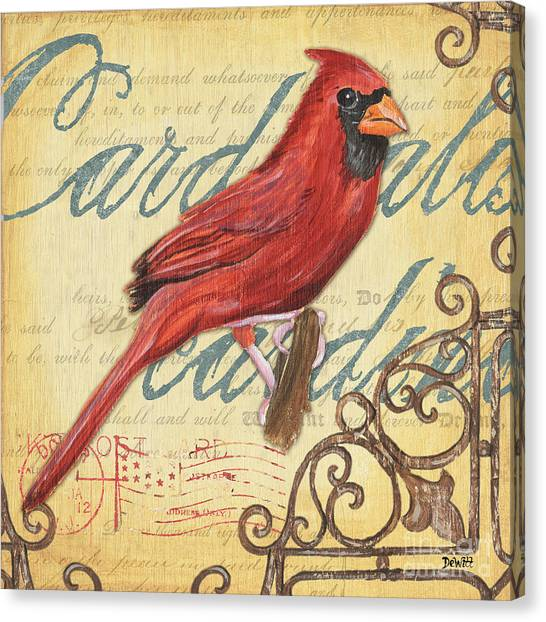 Cardinals Canvas Print - Pretty Bird 1 by Debbie DeWitt