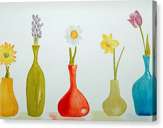 Pretty Flowers In A Row Canvas Print