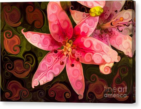 Canvas Print featuring the painting Pretty In Pink by Omaste Witkowski