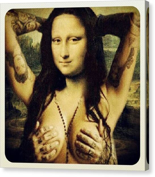 Tattoo Canvas Print - Pretty! #monalisa #tattoo #sexy by Abigaelle Laroux