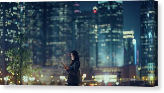 Pretty Office Lady Is Using Tablet In Canvas Print by D3sign