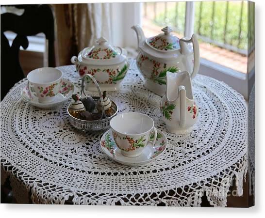 Tea Set Canvas Print - Pretty Tea Set by Carol Groenen