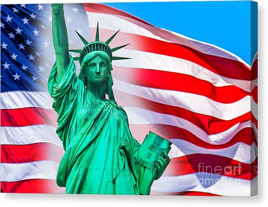 Statue Of Liberty Canvas Print - Pride Of America by Az Jackson