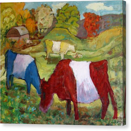 Primary Cows Canvas Print