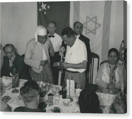 Prime Minster Of Burma On Visit To Israel. Receives A Canvas Print by Retro Images Archive