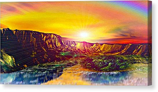 Rainbow Dawn Over Primeval Tide  Life Begins V3 Canvas Print by Rebecca Phillips