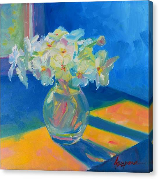 Primroses In Spring Light - Still Life Canvas Print