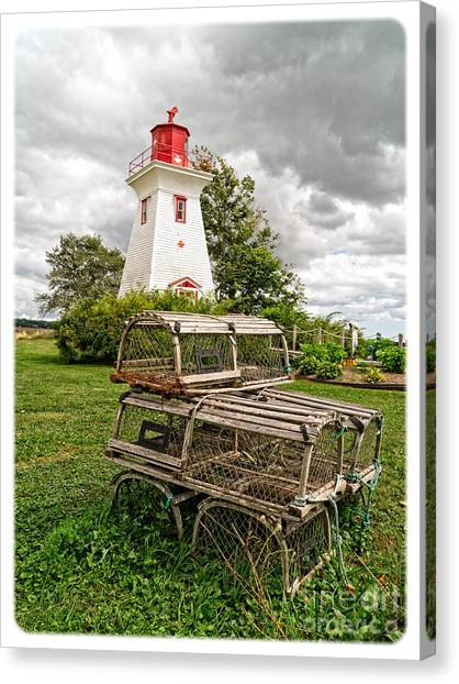 Prince Edward Island Canvas Print - Prince Edward Island Lighthouse With Lobster Traps by Edward Fielding