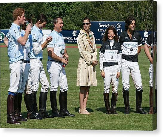 Prince Harry Delfina Belquier And Nacho Figueras Canvas Print