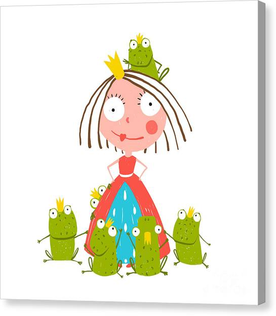 Magician Canvas Print - Princess And Many Prince Frogs Portrait by Popmarleo