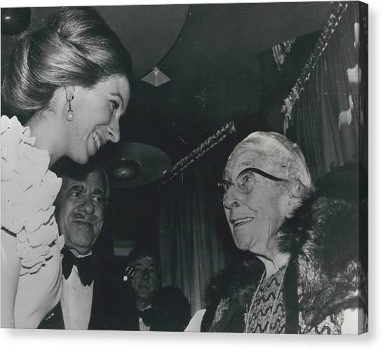 Princess Anne Meets Agatha Christie At Premiere Of Film Canvas Print by Retro Images Archive