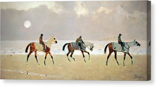 Princeteau's Riders On The Beach At Dieppe Canvas Print