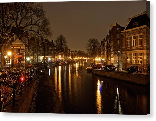 Prinsengracht Canal After Dark Canvas Print