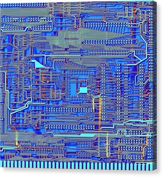 Computer Science Canvas Print - Printed Circuit Board by Alfred Pasieka