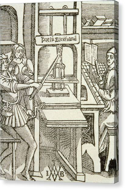 Printers Canvas Print - Printing Press Of 1498, From A Book Printed In That Year Engraving by German School