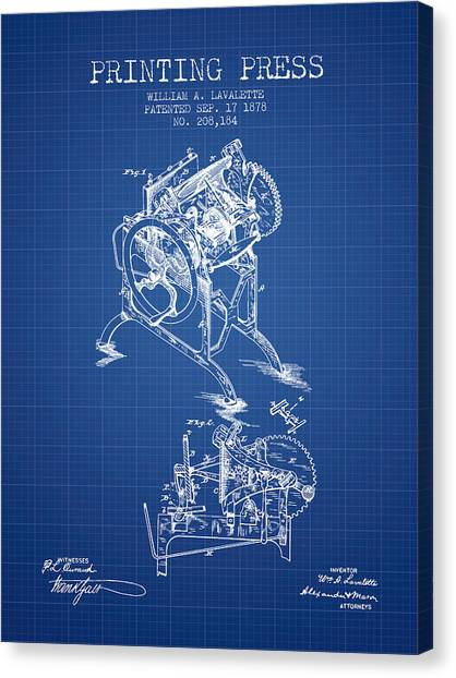 Printers Canvas Print - Printing Press Patent From 1878 - Blueprint by Aged Pixel
