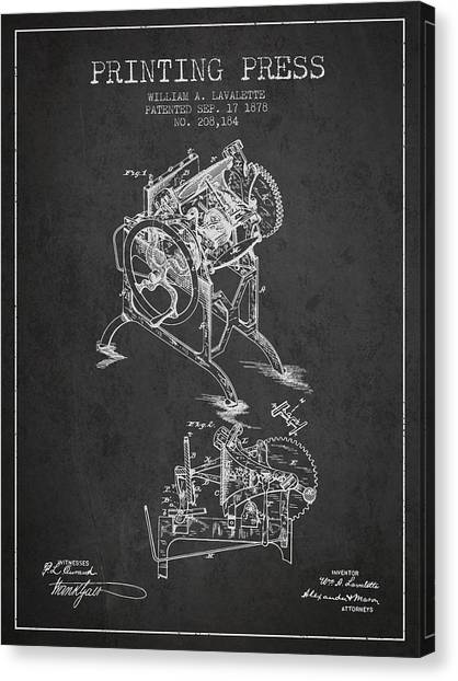 Printers Canvas Print - Printing Press Patent From 1878 - Dark by Aged Pixel