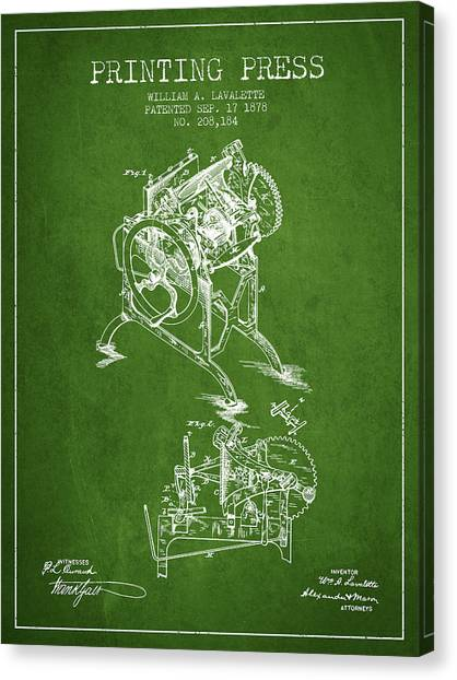 Printers Canvas Print - Printing Press Patent From 1878 - Green by Aged Pixel