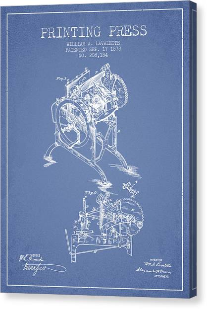 Printers Canvas Print - Printing Press Patent From 1878 - Light Blue by Aged Pixel