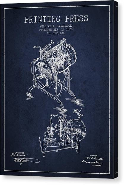 Printers Canvas Print - Printing Press Patent From 1878 - Navy Blue by Aged Pixel