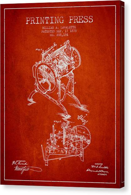 Printers Canvas Print - Printing Press Patent From 1878 - Red by Aged Pixel