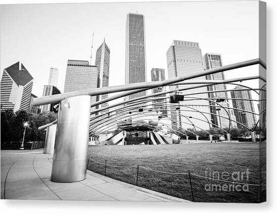 Chicago Black White Canvas Print - Pritzker Pavilion Chicago Black And White Picture by Paul Velgos