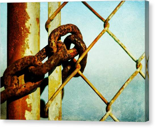 Chain Link Fence Canvas Print - Private Beach 2 by Rebecca Sherman