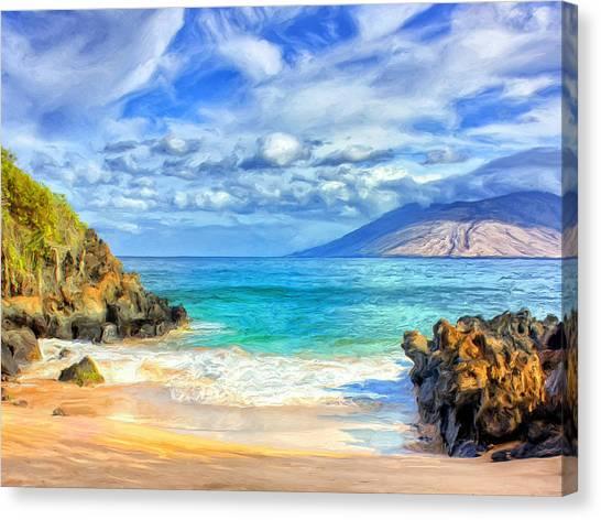 Mauna Loa Canvas Print - Private Beach At Wailea Maui by Dominic Piperata