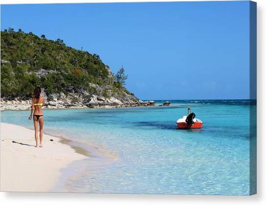 Private Beach Bahamas Canvas Print