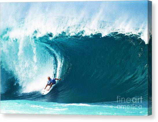 Surfboard Canvas Print - Pro Surfer Kelly Slater Surfing In The Pipeline Masters Contest by Paul Topp