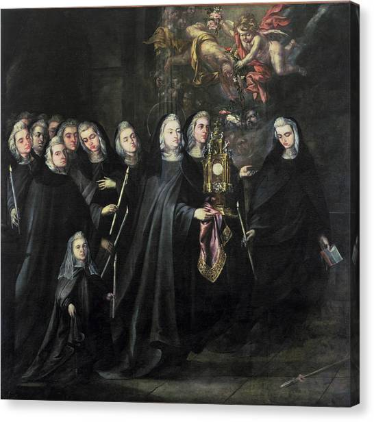 Nuns Canvas Print - Procession Of St. Clare With The Eucharist by Juan de Valdes Leal
