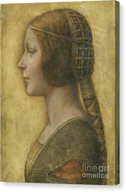 Female Canvas Print - Profile Of A Young Fiancee by Leonardo Da Vinci