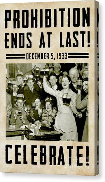 Rum Canvas Print - Prohibition Ends Celebrate by Jon Neidert