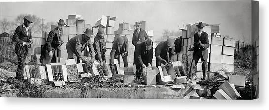 Drunk Canvas Print - Prohibition Feds Destroy Liquor  1923 by Daniel Hagerman