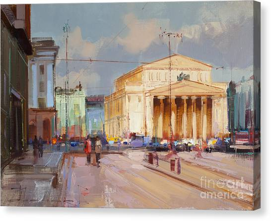Moscow Canvas Print - Promenade At Theater Square. Theatre Way by Alexey Shalaev
