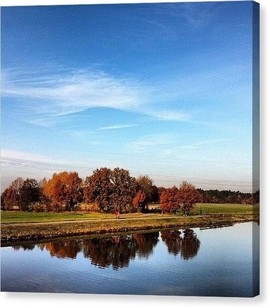 Autumn Leaves Canvas Print - Promenader On A Bank Path. - #bank by Manuela Kohl