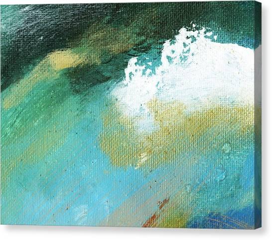 Propel Aqua Blue Gold Canvas Print by L J Smith