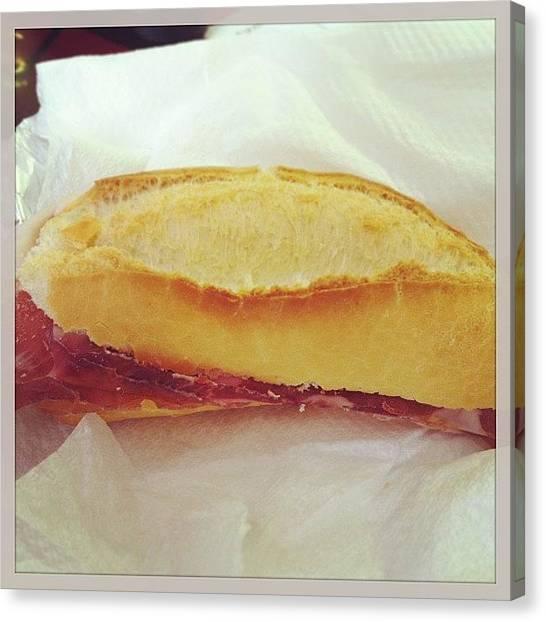 Sandwich Canvas Print - #prosciutto #parma #ham #doc #italy by Simone Montemezzo