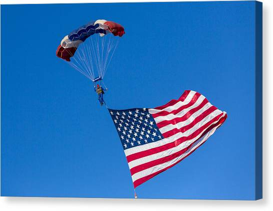 Skydiving Canvas Print - Proud To Be An American by Caitlyn  Grasso