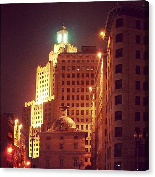 Art Deco Canvas Print - Providence By Night by Jason Fourquet