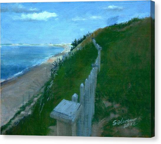 Provincetown And Cape Cod Bay From Lookout Bluff Canvas Print
