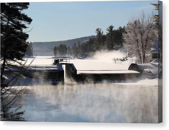 Winter  Pine River Pond  Canvas Print