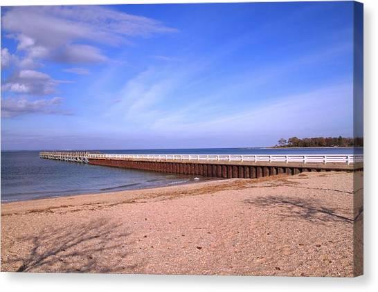 Canvas Print featuring the photograph Prybil Beach Pier by Bob Slitzan